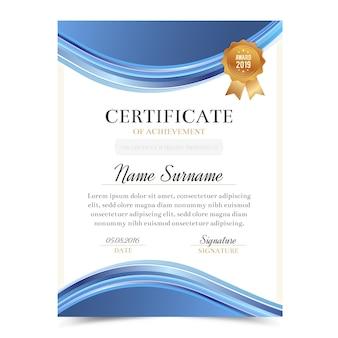 Modello di certificato con design di lusso e moderno