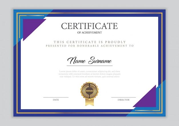 Modello di certificato con elemento in oro