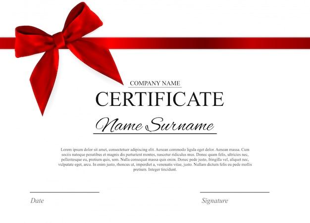 Modello di certificato con fiocco rosso