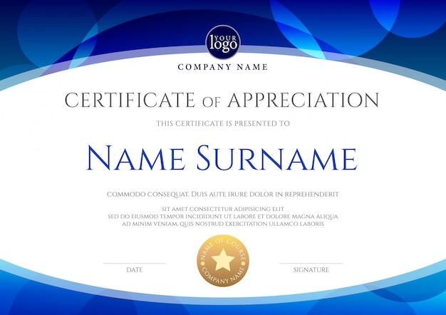 Modello di certificato con forma ovale su blu. certificato di apprezzamento, modello di progettazione del diploma di aggiudicazione.