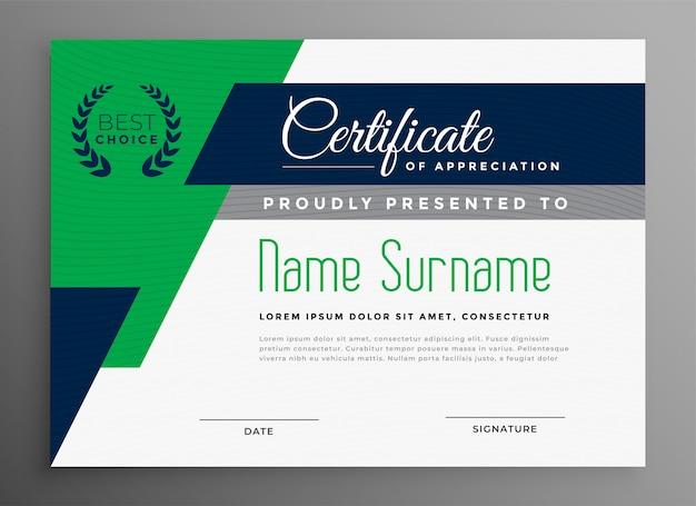 Modello di certificato con forme geometriche moderne