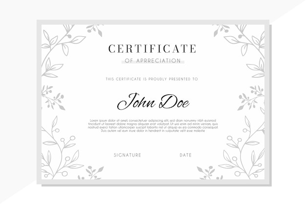 Modello di certificato con ornamenti floreali