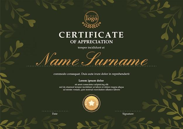 Modello di certificato con sfondo verde scuro motivo floreale foglia