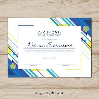 Modello di certificato creativo con forme astratte