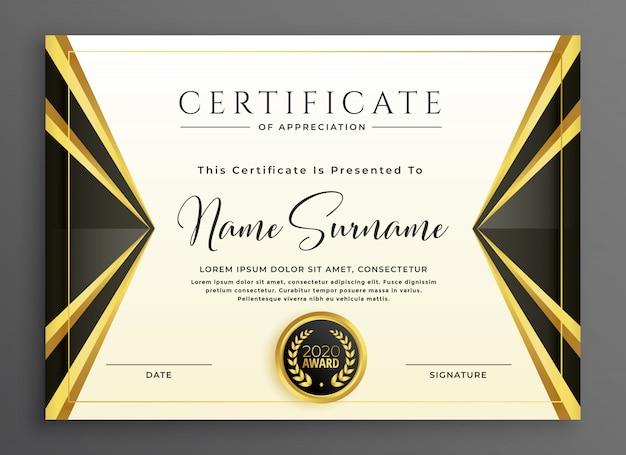 Modello di certificato creativo con forme d'oro di lusso