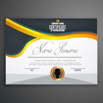 Modello di certificato creativo con modello pulito e moderno, illustrazione vettoriale