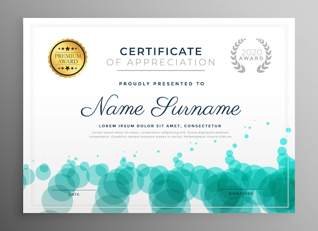 Modello di certificato creativo con motivo a punti