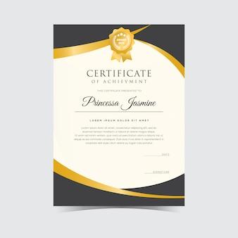 Modello di certificato d'oro