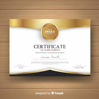Modello di certificato decorativo con elementi dorati