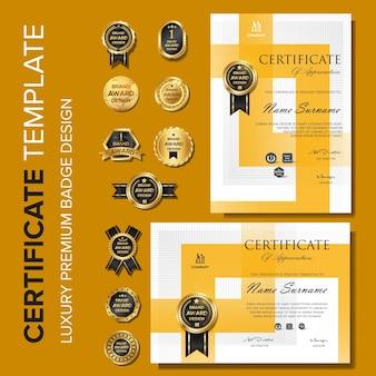Modello di certificato design moderno con distintivo