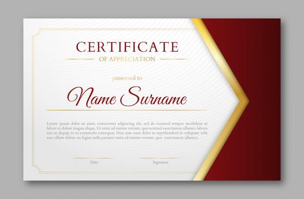 Modello di certificato design oro e rosso