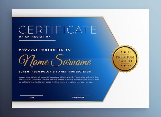 Modello di certificato di apprezzamento in tema blu