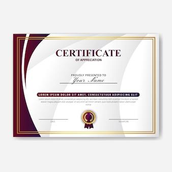 Modello di certificato di apprezzamento