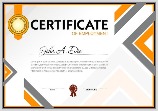 Modello di certificato di assunzione vuoto