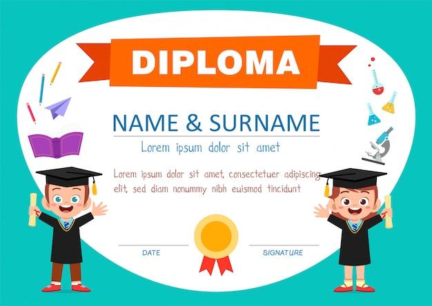 Modello di certificato di diploma carino per studente di scuola