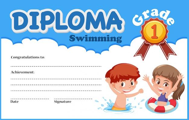 Modello di certificato di diploma di nuoto