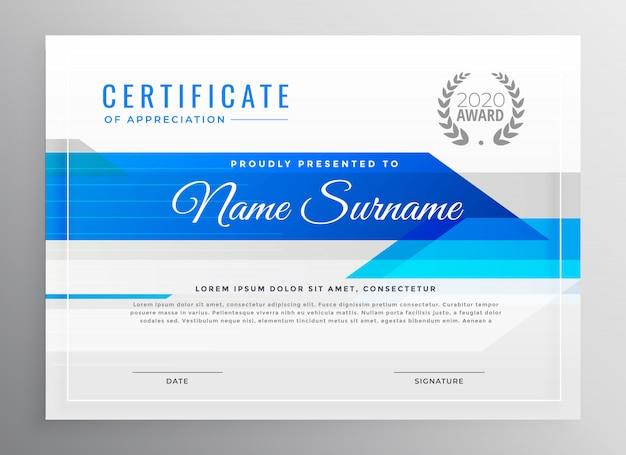 Modello di certificato di diploma orizzontale moderno blu