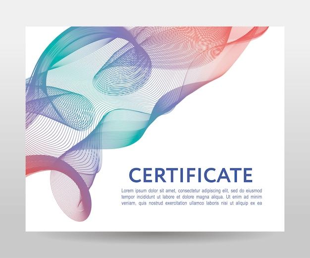 Modello di certificato di forme ondulate