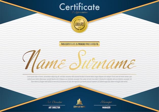 Modello di certificato di lusso e stile diploma