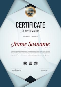 Modello di certificato di lusso e stile diploma.