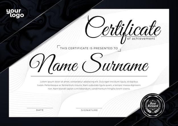 Modello di certificato di lusso nero