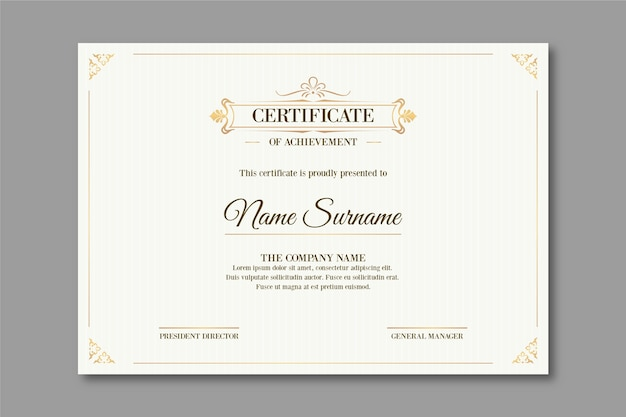 Modello di certificato di stile elegante