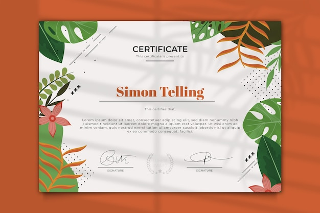 Modello di certificato di stile floreale