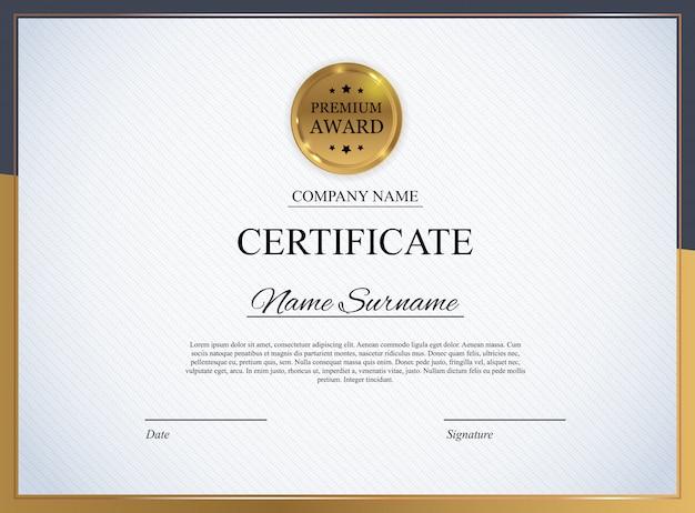 Modello di certificato. diploma di riconoscimento vuoto.