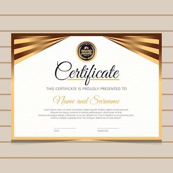 Modello di certificato diploma elegante e oro