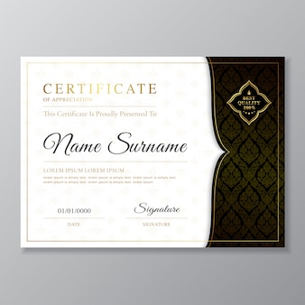 Modello di certificato dorato e nero e diploma