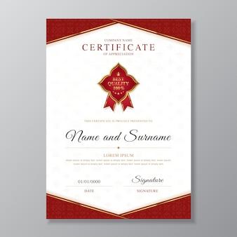 Modello di certificato dorato e rosso e diploma