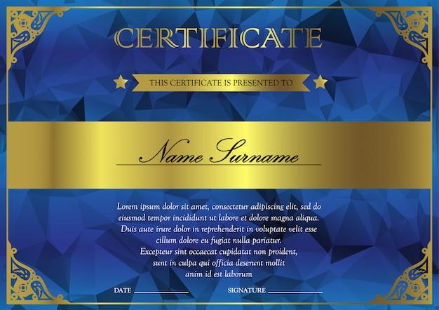 Modello di certificato e diploma orizzontale blu e oro con vintage, floreale, filigrana per il vincitore per il conseguimento. vuoto del buono premio