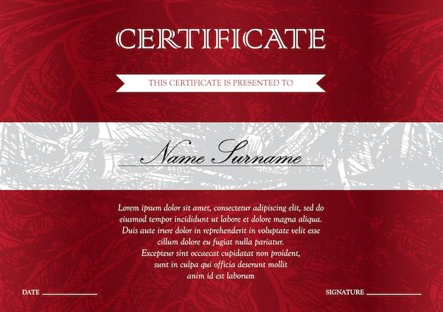 Modello di certificato e diploma rosso orizzontale con vintage, floreale, filigrana