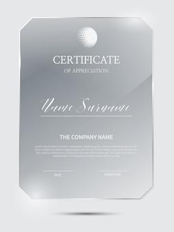 Modello di certificato elegante con cornice in materiale di vetro