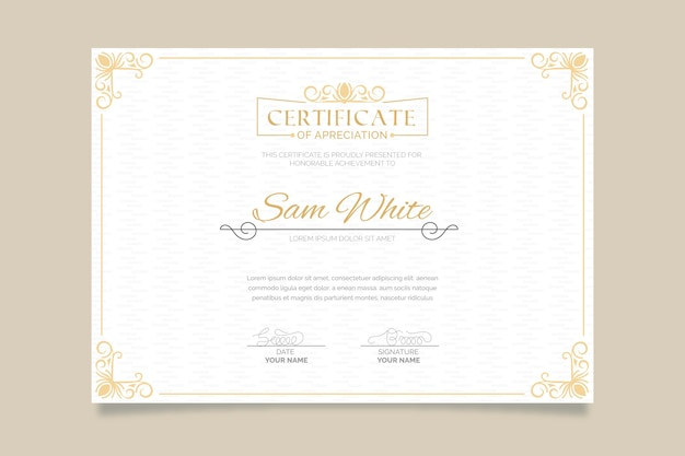 Modello di certificato elegante con cornice