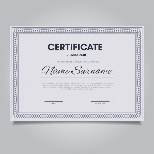 Modello di certificato elegante con cornici di ornamento d'epoca
