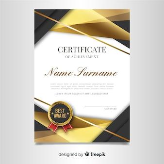 Modello di certificato elegante con design dorato