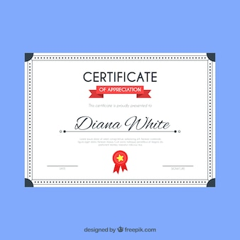 Modello di certificato elegante con design piatto