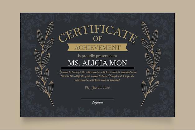 Modello di certificato elegante con foglie