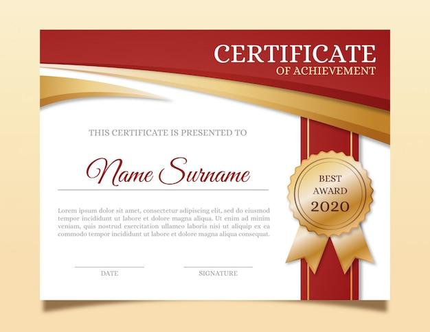 Modello di certificato elegante con nastro d'oro