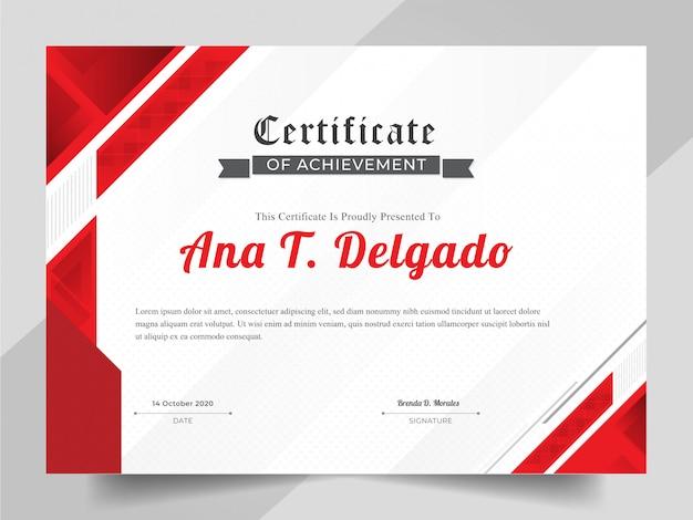 Modello di certificato elegante con sfondo astratto rosso