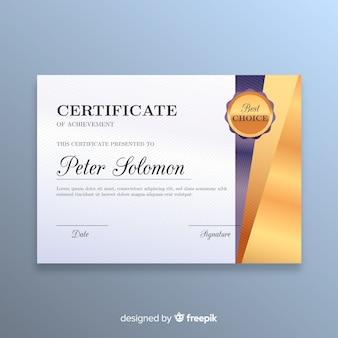 Modello di certificato elegante con stile dorato