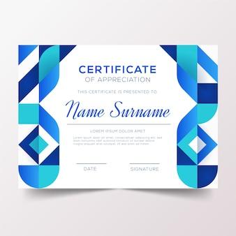 Modello di certificato geometrico blu astratto