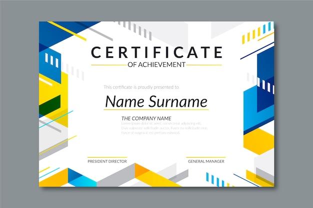 Modello di certificato geometrico stile astratto