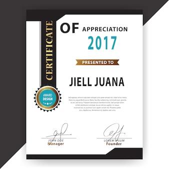 Modello di certificato in bianco e nero