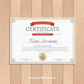 Modello di certificato in stile piano