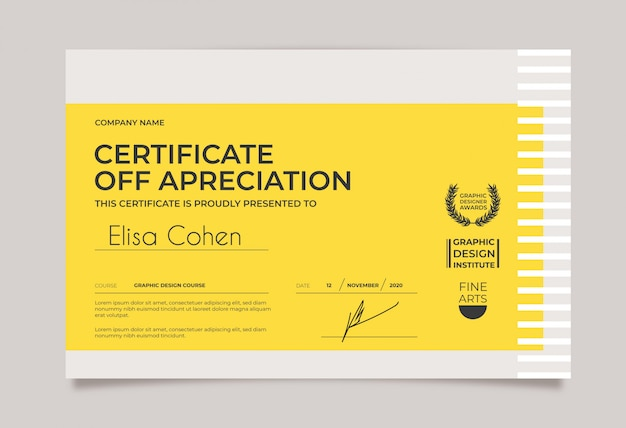 Modello di certificato minimo giallo e bianco