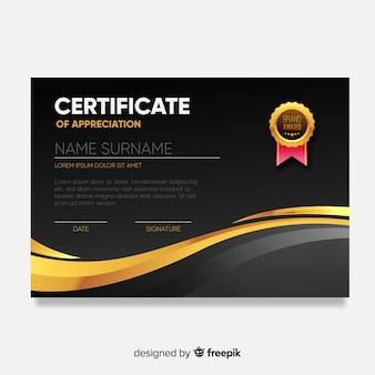 Modello di certificato moderno con design piatto