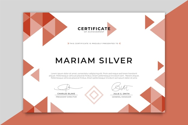 Modello di certificato moderno con triangoli