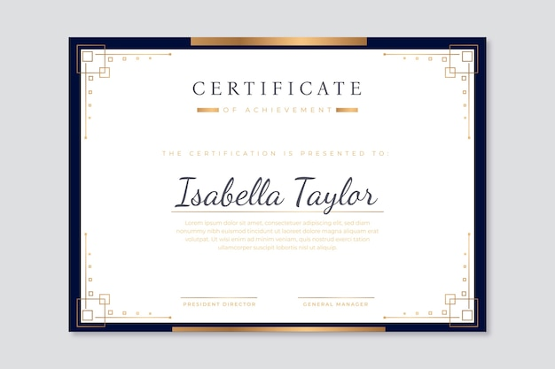 Modello di certificato moderno con un design elegante